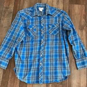 Men's wrangler wrancher flanel plaid shirt